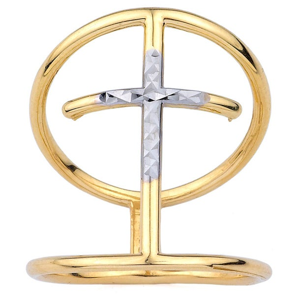 10k Two-Tone Gold Cross Fashion Ring