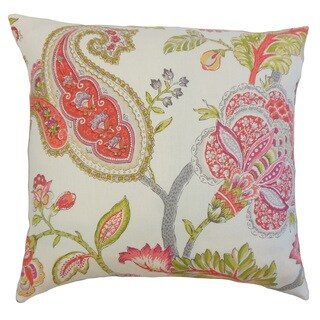 Janne Floral Linen Down and Feather 18-inch Throw Pillow