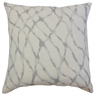 Ennise Grey Graphic Linen Down and Feather 18-inch Throw Pillow