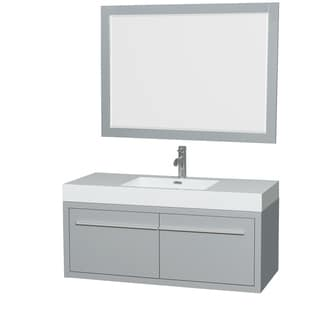 Wyndham Collection Axa 48-inch Dove Grey Acrylic Resin Top Single Vanity with Integrated Sink and 46-inch Mirror