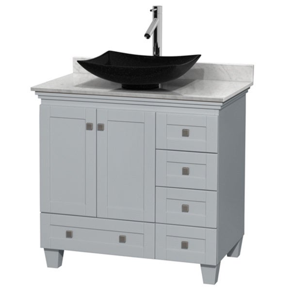 Wyndham Collection Acclaim Oyster Grey White Carrera Marble Top 36-inch Single Vanity