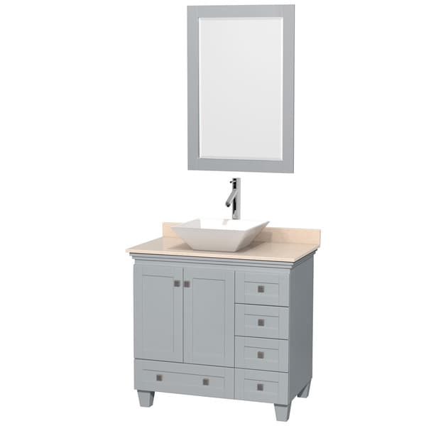 Wyndham Collection Acclaim Oyster Grey 36-inch Ivory Marble Top Single Vanity with 24-inch Mirror