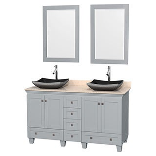 Wyndham Collection Acclaim Oyster Grey 60-inch Ivory Marble Top Double Vanity with 24-inch Mirrors