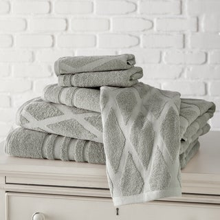 Diamond Jacquard/ Solid 6-piece Towel Set