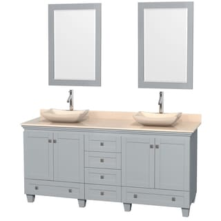 Wyndham Collection Acclaim Oyster Grey Ivory Marble Top 72-inch Double Vanity with 24-inch Mirrors