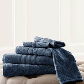 Solid Color Chevron Jacquard 6-piece Egyptian Cotton Towel Set