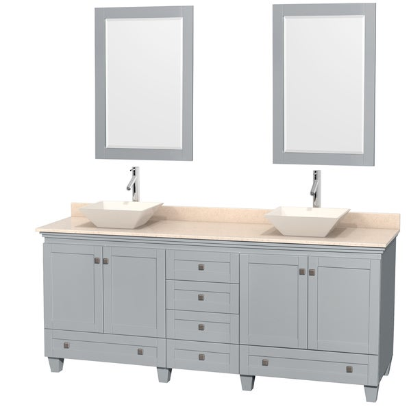 Wyndham Collection Acclaim Oyster Grey Ivory Marble Top 80-inch Double Vanity with 24-inch Mirrors