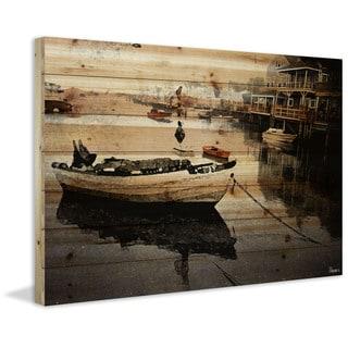 "Parvez Taj - ""Still Dock"" Painting Print on Natural Pine Wood"