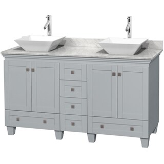Wyndham Collection 60-inch Acclaim Oyster Grey Double Vanity with White Carrera Marble Top