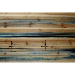 "Parvez Taj - ""Surfboard Paddling"" Painting Print on Natural Pine Wood"