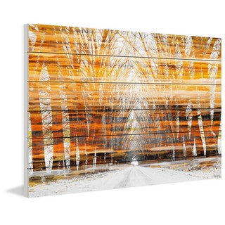 "Parvez Taj - ""Orange Striped Sky"" Painting Print on White Wood"
