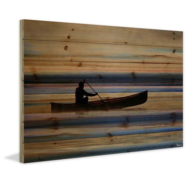 "Parvez Taj - ""Canoe on Calm Lake"" Painting Print on Natural Pine Wood"
