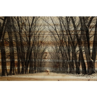 "Parvez Taj - ""Tree Path"" Painting Print on Natural Pine Wood"
