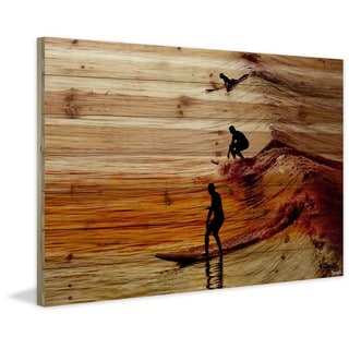 "Parvez Taj - ""Surfing the Wave"" Painting Print on Natural Pine Wood"