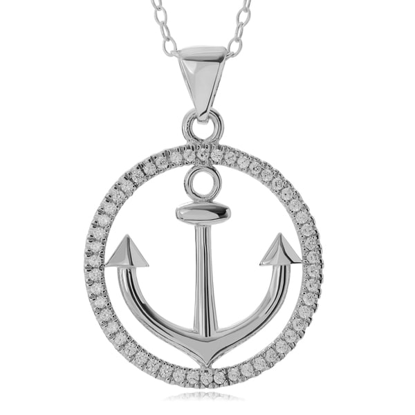 Journee Collection Sterling Silver CZ Pave Open Circle Anchor Pendant