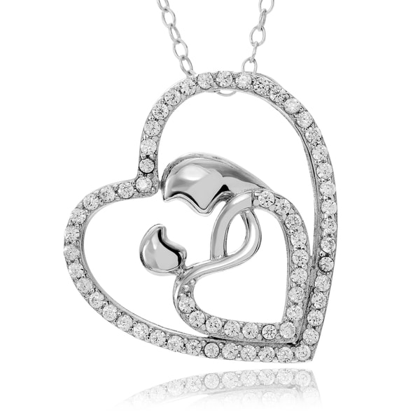 Journee Collection Sterling Silver CZ pave Heart Mother and Child Pendant