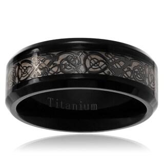 Territory Men's Titanium Celtic Design Inlay Wedding Band