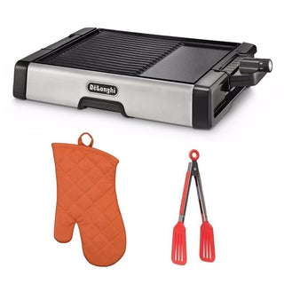 De'Longhi BG500C 2-in-1 Ceramic Coated Grill and Griddle (Black) with 8-inch Nylon Flipper Tongs + Kitchen Oven Mitt