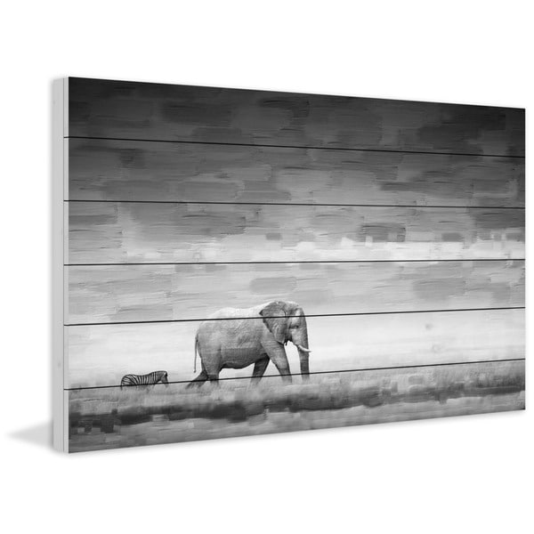 "Parvez Taj - ""Elephant"" Painting Print on White Wood"