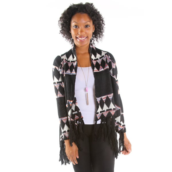 Hadari Women's Fringed Diamond Cardigan