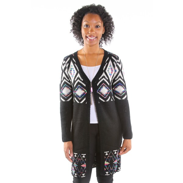 Hadari Women's Black and White Cardigan