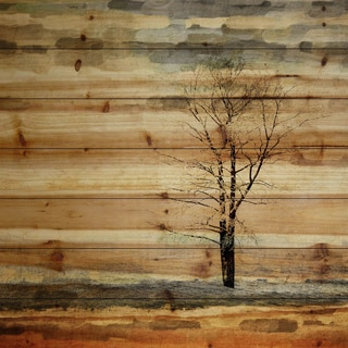 "Parvez Taj - ""Tree Stands Alone"" Painting Print on Natural Pine Wood"