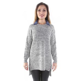 Hadari Women's Black and White Pullover Sweater