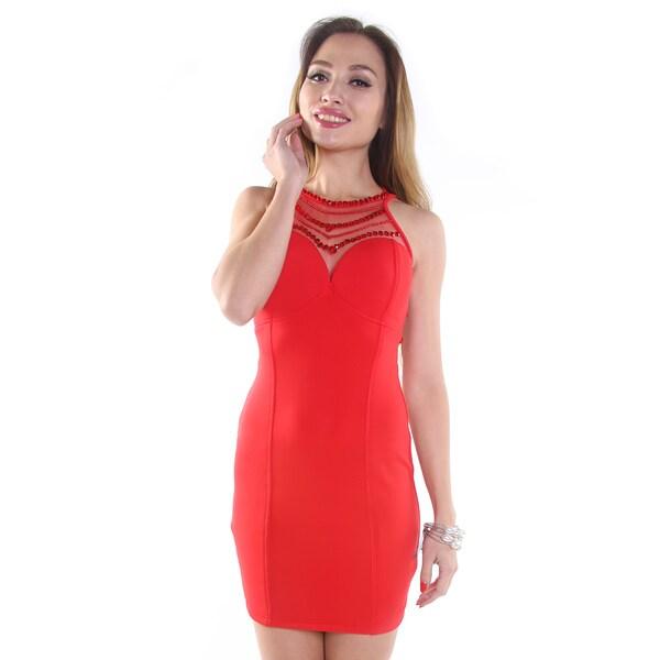 Hadari Women's Red Halter Mini Dress