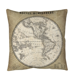 Thumbprintz French World Map 3 Throw or Floor Pillow