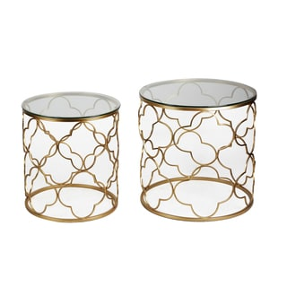 Adeco Luxury Cylindrical Metal Coffee Table, Two Pieces, Golden
