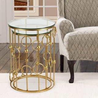 Adeco Home Garden Patio Accent Metal Nesting Postmodernism Golden Side End Tea Coffee Tables (Set of 2)