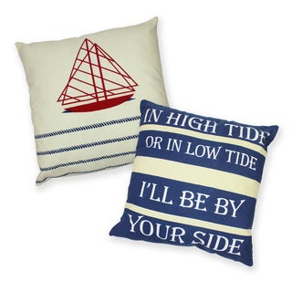 Nautical High Tide Cotton Decorative 18-inch Throw Pillows (Set of 2)