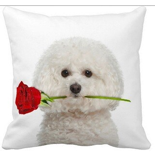 Valentine's Bichon Frise With a Rose 16-inch Throw Pillow