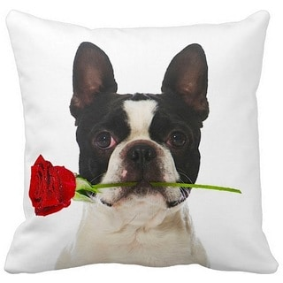 Valentine's Boston Terrier With a Rose 16-inch Throw Pillow