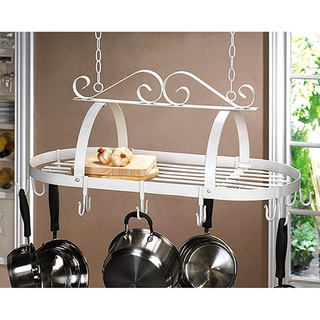 White Metal Hanging Pot Rack