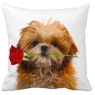 Valentine's Shih Tzu With a Rose 16-inch Throw Pillow