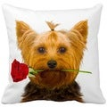 Yorkie With a Rose 16-inch Throw Pillow