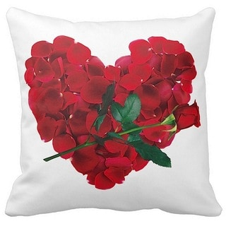 Valentine's Day Heart of Red Rose 16-inch Throw Pillow