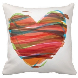 Valentine's Day Colored Heart 16-inch Throw Pillow