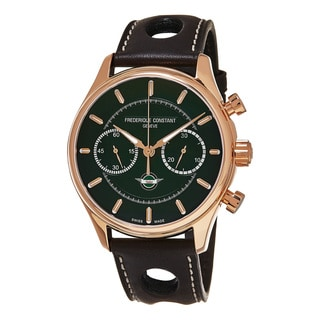 Frederique Constant Men's FC-397HDG5B4 'Vintage Rally' Green Dial Brown Leather Strap Limited Edition Automatic Watch