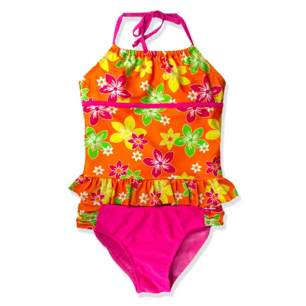 Jump'N Splash Girls' Orange Flower Halter Tankini