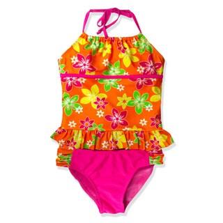 Jump'N Splash Girls' Orange Flower Halter Tankini
