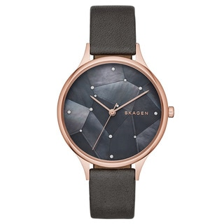 Skagen Women's SKW2390 Anita Diamond Grey Mother Of Pearl Dial Charcoal Leather Watch