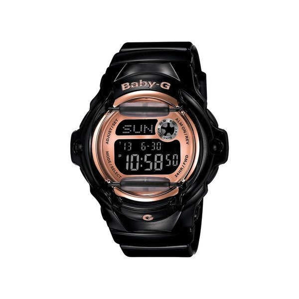 Casio Baby-G Women's BG169G-1 Rose-Tone Digital Dial Black Resin Watch
