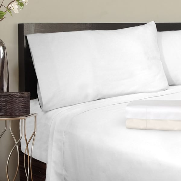 Grand Luxe Egyptian Cotton Solid Sateen 1200 Thread Count Deep Pocket Sheet Set King Size in Ivory (As Is Item)
