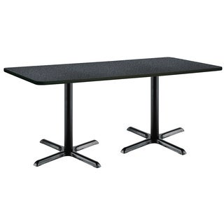 30 x 72-inch Pedestal Table with Black X-Shaped Bases