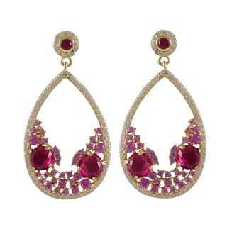 Gold Finish Sterling Silver Lab-created Ruby Teardrop Earrings