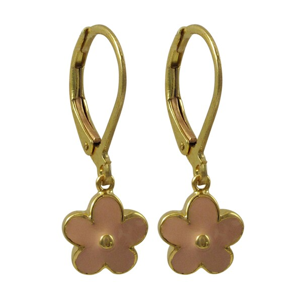 Gold Finish Pink or Red Enamel Flower Girls Dangle Earrings