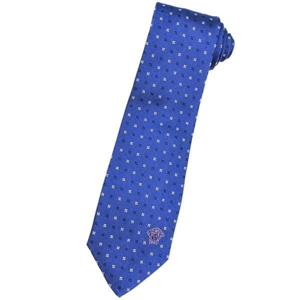 Versace 100-percent Italian Silk Bright Blue Floral Neck Tie
