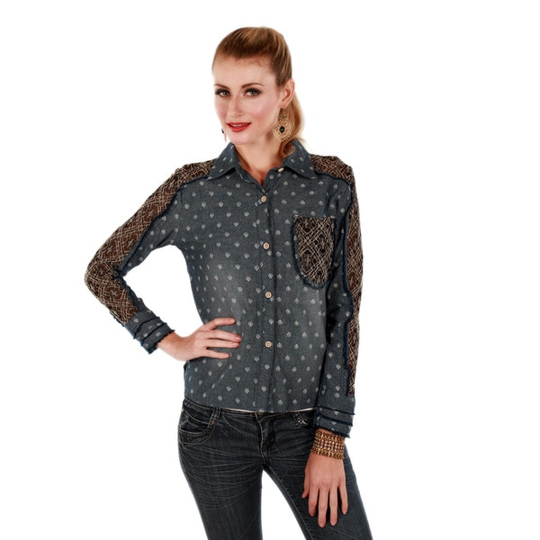 Firmiana Women's Lace Denim Long Sleeve Button-front Top Large Size in Blue (As Is Item)